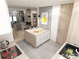 Nowoczesny dom pod Myślenicami - Średnia otwarta biała szara kuchnia w kształcie litery l z wyspą, styl nowoczesny - zdjęcie od marengo-architektura