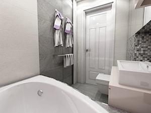 Nowoczesne mieszkanie w stylu prowansalskim - Mała szara łazienka w bloku w domu jednorodzinnym bez okna, styl prowansalski - zdjęcie od marengo-architektura