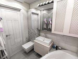 Nowoczesne mieszkanie w stylu prowansalskim - Mała szara łazienka na poddaszu w bloku w domu jednorodzinnym bez okna, styl prowansalski - zdjęcie od marengo-architektura