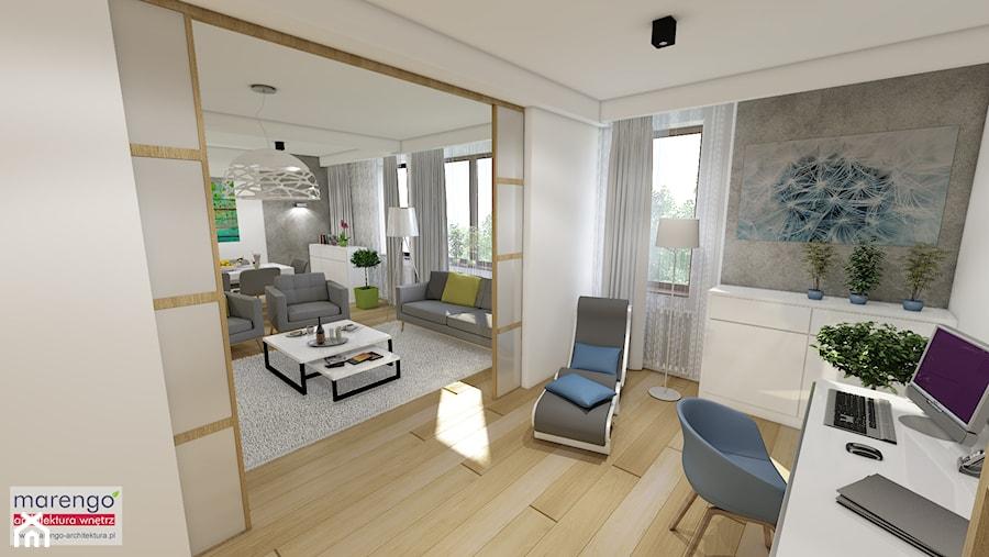 Aranżacje wnętrz - Biuro: Projekt wnętrza mieszkania pokazowego w Krakowie - marengo-architektura. Przeglądaj, dodawaj i zapisuj najlepsze zdjęcia, pomysły i inspiracje designerskie. W bazie mamy już prawie milion fotografii!