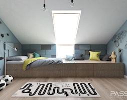 Projekt 31 - Mały biały niebieski pokój dziecka dla chłopca dla dziewczynki dla nastolatka, styl nowoczesny - zdjęcie od PASS architekci