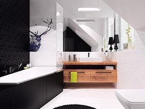 projekt 11 - Duża biała czarna łazienka na poddaszu w domu jednorodzinnym jako salon kąpielowy z oknem, styl nowoczesny - zdjęcie od PASS architekci