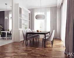 projekt 7 - Duża otwarta biała jadalnia jako osobne pomieszczenie, styl klasyczny - zdjęcie od PASS architekci