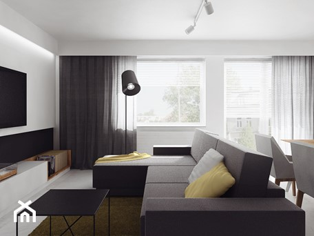 Aranżacje wnętrz - Salon: projekt 11 - Średni biały salon z jadalnią, styl nowoczesny - PASS architekci. Przeglądaj, dodawaj i zapisuj najlepsze zdjęcia, pomysły i inspiracje designerskie. W bazie mamy już prawie milion fotografii!