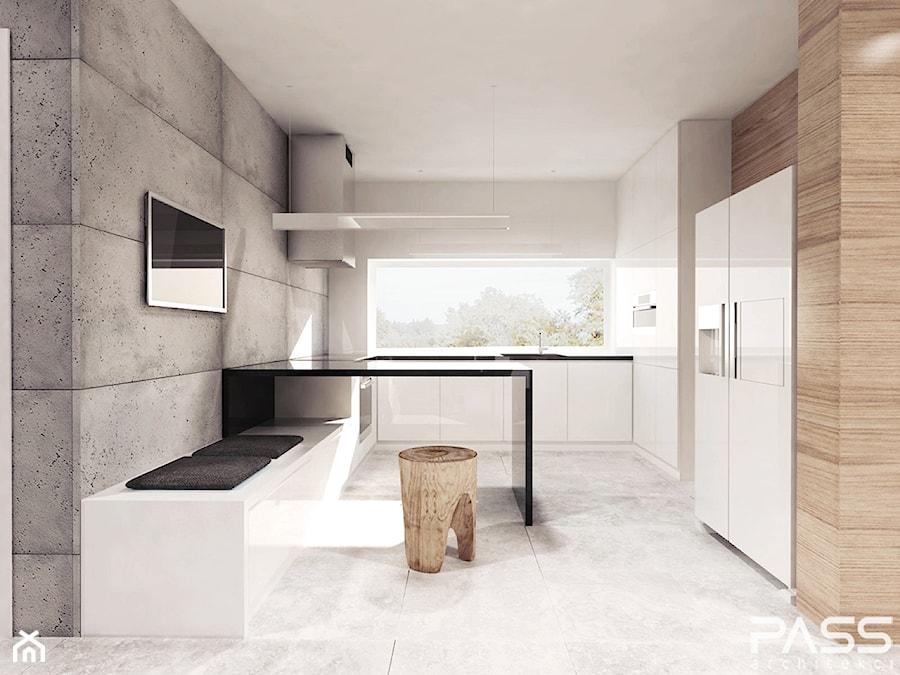 projekt 6 - Średnia otwarta biała szara kuchnia w kształcie litery u w aneksie, styl minimalistyczny - zdjęcie od PASS architekci
