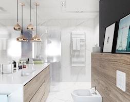 Projekt 17 - Duża biała czarna łazienka w domu jednorodzinnym z oknem, styl skandynawski - zdjęcie od PASS architekci