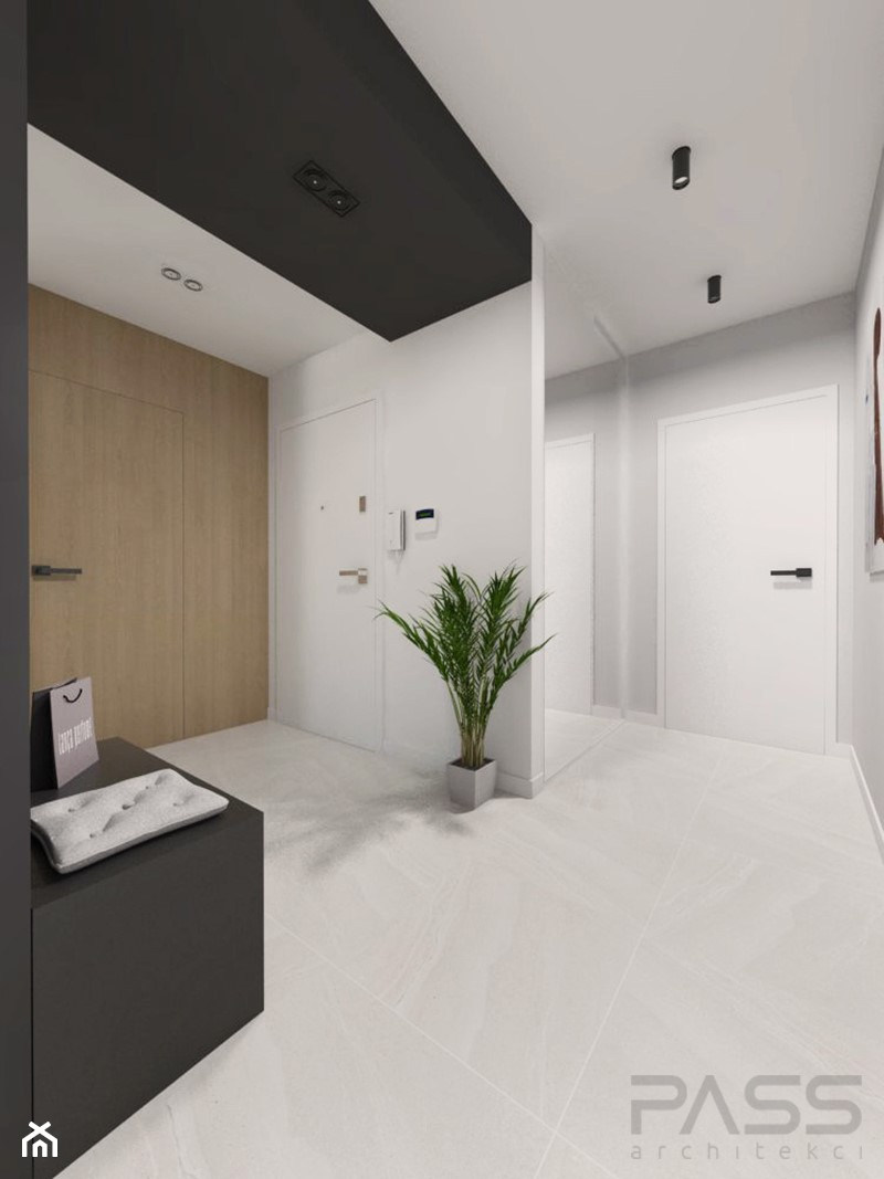 Projekt 29 - Średni biały czarny szary hol / przedpokój, styl nowoczesny - zdjęcie od PASS architekci