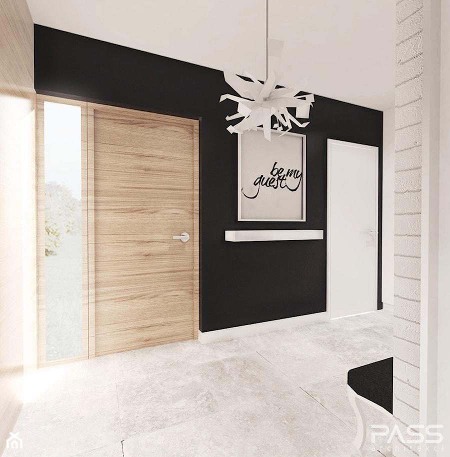 projekt 6 - Średni biały czarny hol / przedpokój, styl minimalistyczny - zdjęcie od PASS architekci