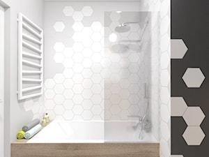 projekt 16 - Mała brązowa szara łazienka bez okna, styl skandynawski - zdjęcie od PASS architekci