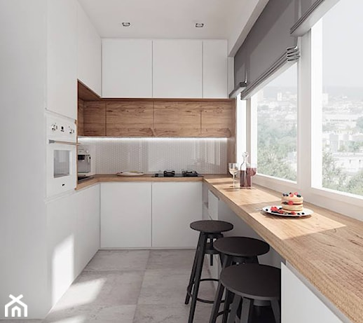 projekt 10  Średnia otwarta wąska kuchnia w kształcie litery u, styl nowocze