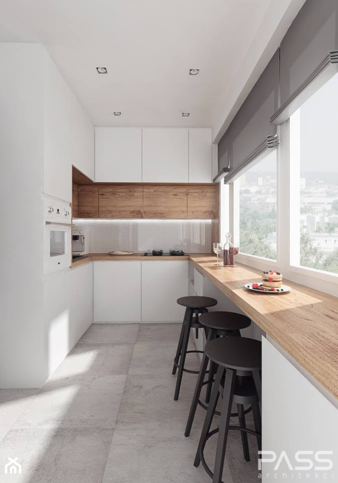 projekt 10 - Średnia otwarta wąska biała kuchnia w kształcie litery u, styl nowoczesny - zdjęcie od PASS architekci