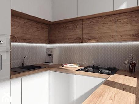 Aranżacje wnętrz - Kuchnia: projekt 10 - Mała wąska biała brązowa kuchnia w kształcie litery u, styl nowoczesny - PASS architekci. Przeglądaj, dodawaj i zapisuj najlepsze zdjęcia, pomysły i inspiracje designerskie. W bazie mamy już prawie milion fotografii!