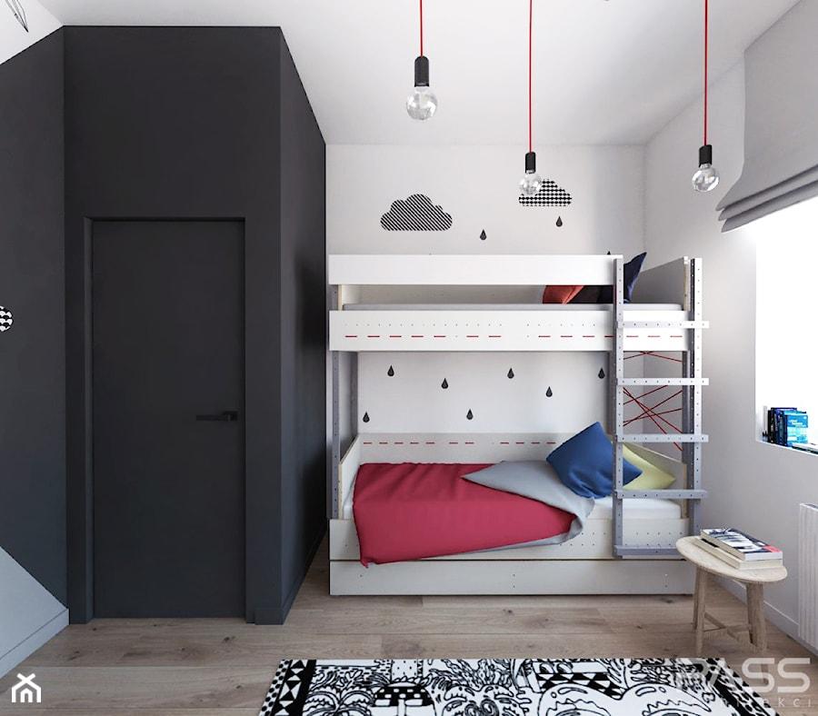 Projekt 30 - Mały szary czarny pokój dziecka dla chłopca dla dziewczynki dla rodzeństwa dla nastolatka, styl skandynawski - zdjęcie od PASS architekci