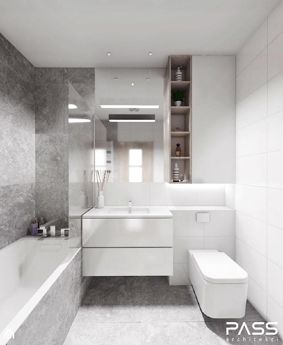 Projekt 12 Mała Biała Szara łazienka Styl Minimalistyczny