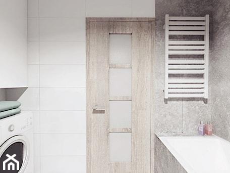 Aranżacje wnętrz - Łazienka: projekt 12 - Średnia biała szara łazienka w bloku bez okna, styl minimalistyczny - PASS architekci. Przeglądaj, dodawaj i zapisuj najlepsze zdjęcia, pomysły i inspiracje designerskie. W bazie mamy już prawie milion fotografii!
