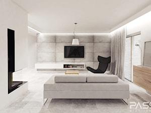 projekt 6 - Średni szary biały salon, styl minimalistyczny - zdjęcie od PASS architekci
