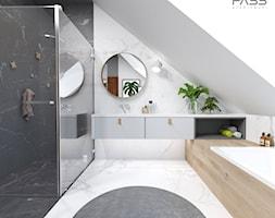 projekt 33 - Duża biała czarna łazienka na poddaszu w domu jednorodzinnym z oknem, styl skandynawsk ... - zdjęcie od PASS architekci - Homebook