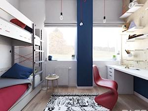 Projekt 30 - Mały szary pokój dziecka dla chłopca dla dziewczynki dla rodzeństwa dla ucznia dla nastolatka, styl skandynawski - zdjęcie od PASS architekci