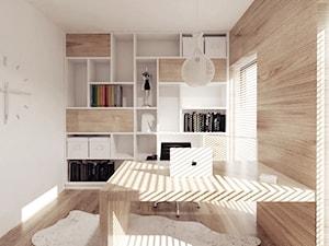 projekt 6 - Małe beżowe biuro domowe w pokoju, styl minimalistyczny - zdjęcie od PASS architekci