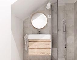 projekt 14 - Mała biała szara łazienka na poddaszu, styl minimalistyczny - zdjęcie od PASS architekci
