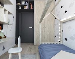 Projekt 25 - Mały szary czarny pokój dziecka dla chłopca dla dziewczynki dla ucznia dla malucha dla nastolatka, styl skandynawski - zdjęcie od PASS architekci