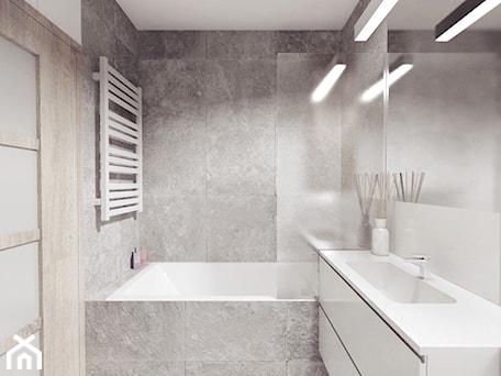 Aranżacje wnętrz - Łazienka: projekt 12 - Średnia szara łazienka w bloku, styl minimalistyczny - PASS architekci. Przeglądaj, dodawaj i zapisuj najlepsze zdjęcia, pomysły i inspiracje designerskie. W bazie mamy już prawie milion fotografii!