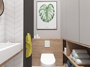 Projekt 30 - Mała biała czarna szara łazienka, styl skandynawski - zdjęcie od PASS architekci