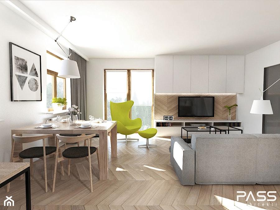 Projekt 17  Mały salon z jadalnią, styl skandynawski  zdjęcie od PASS archi  -> Aranżacja Kuchnia Jadalnia Salon