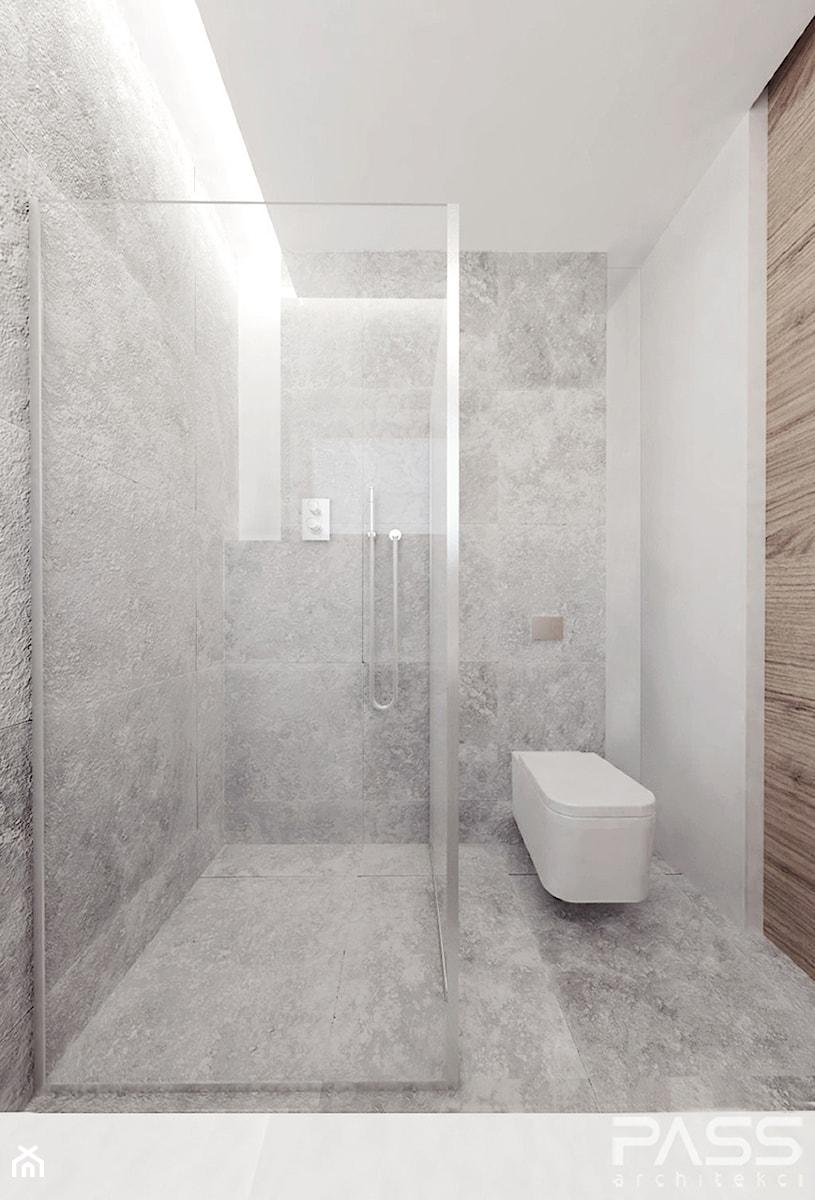 projekt 6 - Mała szara łazienka w bloku w domu jednorodzinnym bez okna, styl minimalistyczny - zdjęcie od PASS architekci