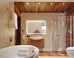 dom za Bydgoszczą - Średnia szara łazienka na poddaszu w bloku w domu jednorodzinnym bez okna, styl nowoczesny - zdjęcie od pracowania projektowa Danieli Czachowskiej