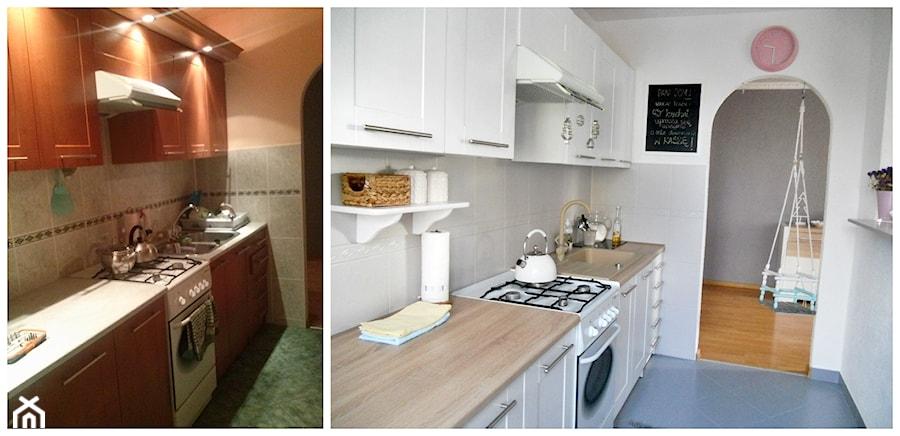 Metamorfoza kuchni tanim kosztem - Średnia otwarta biała kuchnia jednorzędowa w aneksie - zdjęcie od Olga88