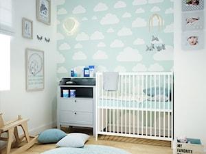 Projekt mieszkania w Poznaniu - Mały biały niebieski pokój dziecka dla chłopca dla dziewczynki dla niemowlaka, styl skandynawski - zdjęcie od marina suchorska architektura wnętrz