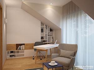 dom jednorodzinny - Średnie szare biuro domowe kącik do pracy na poddaszu w pokoju, styl nowoczesny - zdjęcie od marina suchorska architektura wnętrz