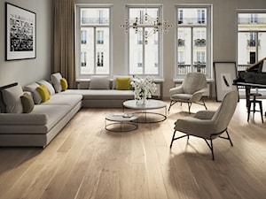 Kolekcja SENSES - Duży szary salon z tarasem / balkonem, styl minimalistyczny - zdjęcie od Barlinek