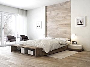 DESKA BARLINECKA - Duża beżowa sypialnia małżeńska, styl minimalistyczny - zdjęcie od Barlinek