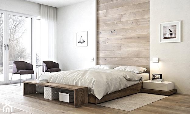 drewniana podłoga, fioletowe fotele, beżowy dywanik, kremowa ściana