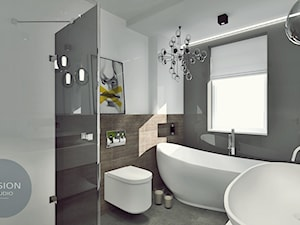 Łazienka z wanna wolnostojącą... - Średnia biała łazienka w bloku w domu jednorodzinnym z oknem, styl nowoczesny - zdjęcie od Fusion- projektowanie i aranżacja wnętrz