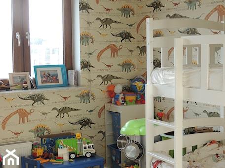 MIESZKANIE W POZNANIU - Mały beżowy kolorowy pokój dziecka dla chłopca dla rodzeństwa dla malucha, styl eklektyczny - zdjęcie od Studio Projektowe RoRO interior + design