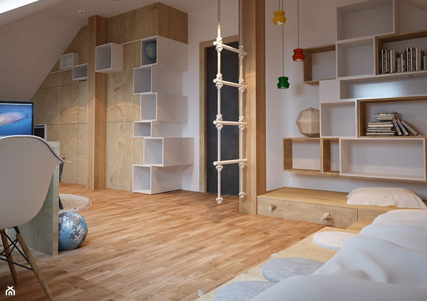 Duży biały pokój dziecka dla chłopca dla malucha, styl nowoczesny - zdjęcie od COI Pracownia Architektury Wnętrz - Homebook