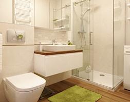 Mieszkanie w Gdańsku na Ujeścisku - Duża beżowa łazienka w bloku bez okna, styl skandynawski - zdjęcie od Wleklinska Interior and Yacht Design