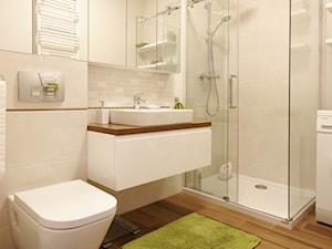Mieszkanie w Gdańsku na Ujeścisku - Duża beżowa łazienka w bloku bez okna, styl skandynawski - zdjęcie od WLEKLIŃSKA WNĘTRZA