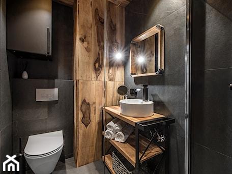 Aranżacje wnętrz - Łazienka: Projekt mieszkania 27m2 - Mała czarna łazienka bez okna, styl industrialny - AnEd Design - stylizacja wnętrz/home staging/fotografia wnętrz. Przeglądaj, dodawaj i zapisuj najlepsze zdjęcia, pomysły i inspiracje designerskie. W bazie mamy już prawie milion fotografii!