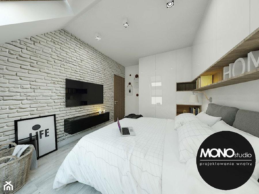 Delikatna sypialnia utrzymana w bieli - zdjęcie od Monostudio Wnętrza