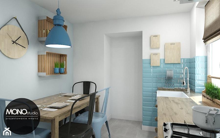 Mała funkcjonalna kuchnia w kontrastowej ale delikatnej kolorystyce  zdjęcie