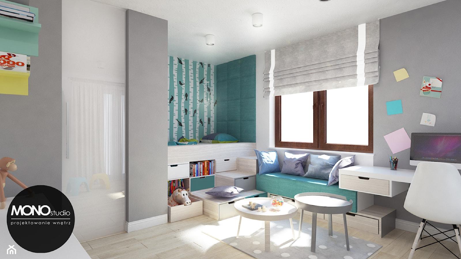 Młodzieżowy pokój dla żywiołowego nastolatka - Duży szary turkusowy pokój dziecka dla chłopca dla dziewczynki dla rodzeństwa dla ucznia dla malucha dla nastolatka, styl nowoczesny - zdjęcie od Monostudio Wnętrza - Homebook