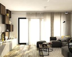 Surowe materiały z akcentem koloru i drewna - zdjęcie od Monostudio Wnętrza