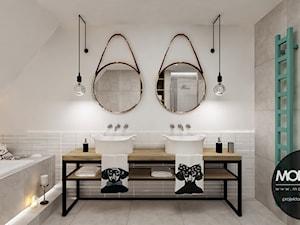 Duża biała łazienka jako salon kąpielowy jako domowe spa bez okna, styl skandynawski - zdjęcie od Monostudio Wnętrza