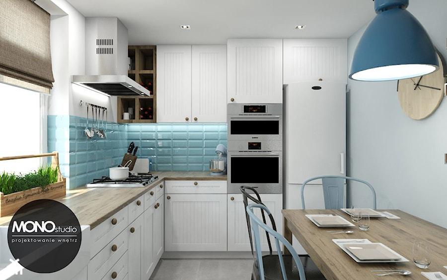 Mała funkcjonalna kuchnia w kontrastowej ale delikatnej kolorystyce  zdjęcie   -> Funkcjonalna Mala Kuchnia W Bloku