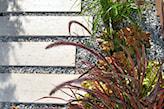ścieżka ogrodowa z płyt i żwiru