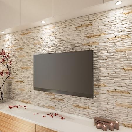 Oświetlenie ściany Z Kamienia Dekoracyjnego Pomysły